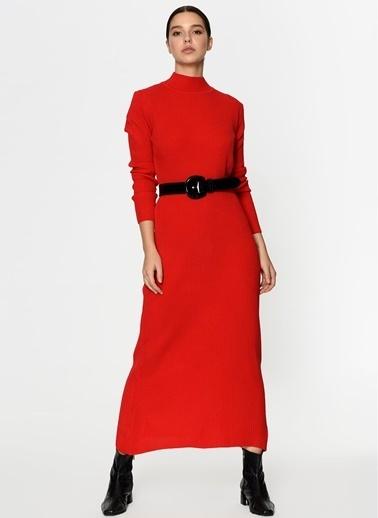 Loves You Yarım Balıkçı Triko Elbise Kırmızı
